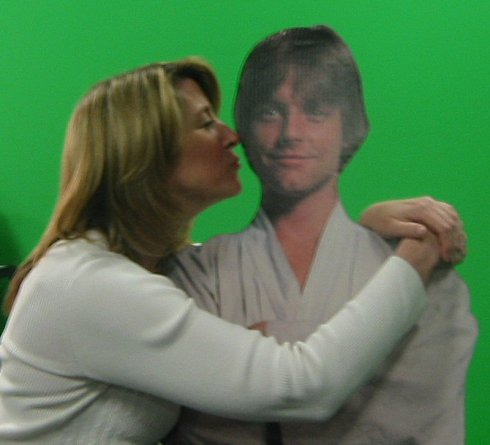 Cilla got up close and personal with Luke Skywalker on a set across the studio.